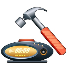 alarm clock and hammer vector image