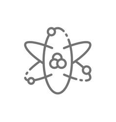 Atom atomic energy line icon isolated on white vector