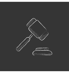 Auction gavel drawn in chalk icon vector