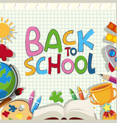 back to school poster design with different vector image
