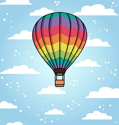 Background with air balloon and clouds vector