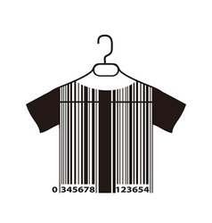 barcode T-shirt on cloth hanger vector image vector image