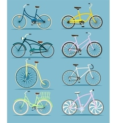 Bicycle set in flat design vector