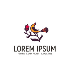 bird and flower logo design concept template vector image