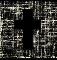 black cross on grunge background textures vector image