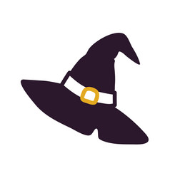 Black witch hat silhouette vector