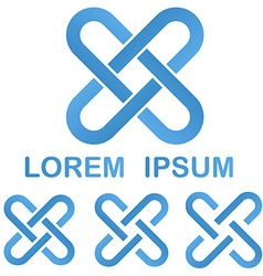 Blue clip logo design template set vector