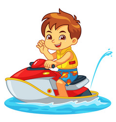 Boy riding jetski on the beach vector
