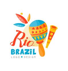 Brazil rio logo design bright carnival banner vector