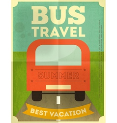 Bus travel poster vector