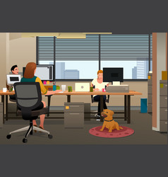 business people bringing pet to office vector image