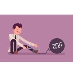 Businessman chained with a metall weight Debt vector