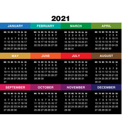 calendar for 2021 year on black background vector image