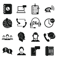 Call center symbols icons set simple style vector image