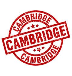 Cambridge red round grunge stamp vector