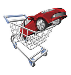 Car shopping cart concept vector