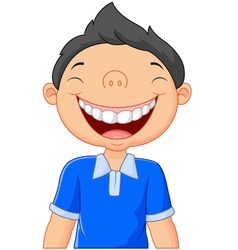 Cartoon boy laughing vector image