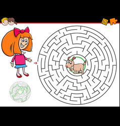 cartoon maze game with girl and puppy vector image