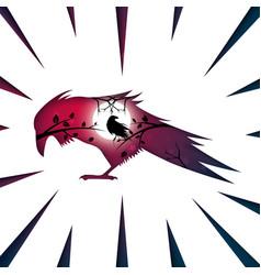 cartoon paper landscape raven crow vector image