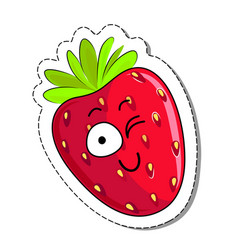 cartoon strawberry cute character face sticker vector image