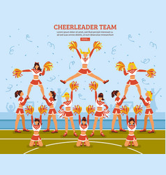 Cheerleader team stadium flat poster vector