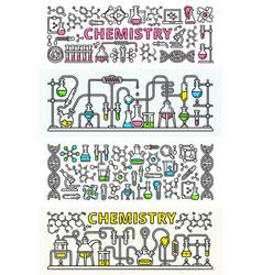 chemistry lab banner set outline style vector image