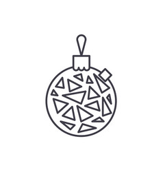 christmas ball line icon concept christmas ball vector image