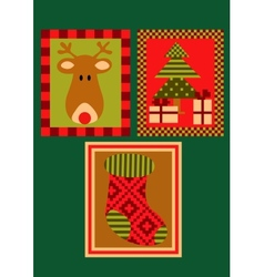 Christmas deer tree and a sock vector image
