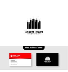 City bar logo and business card template vector