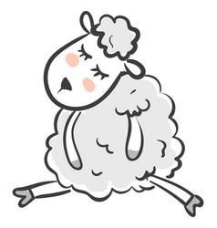 Clipart a cute sheep sleeping or color vector