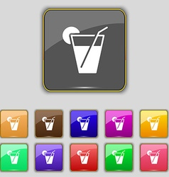 Cocktail icon sign Set with eleven colored buttons vector