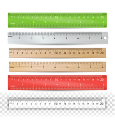 color school ruler plastic wooden metal vector image