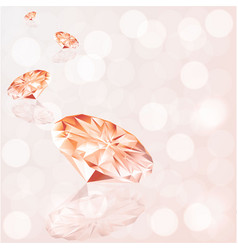 Diamonds on peach white bokeh light with vector