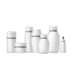 Different bottles and jars for cosmetics vector