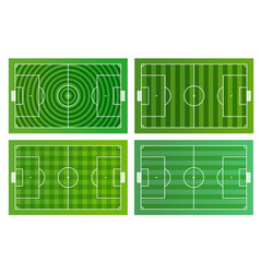 different green football fields infographic vector image vector image