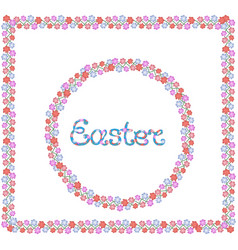 easter hand lettering round and square flower vector image