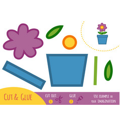 education paper game for children flower in a pot vector image