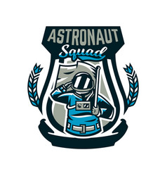Emblem logo an astronaut salutes and holds a vector