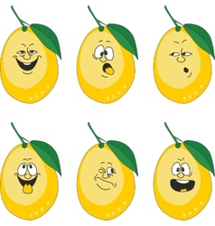 Emotion cartoon yellow lemon set 013 vector image