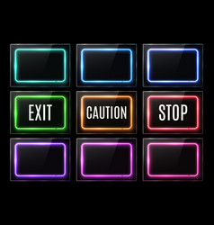 exit caution stop light sign color rectangle frame vector image