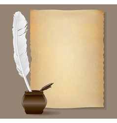 feather pen background vector image