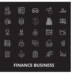 finance business editable line icons set on vector image