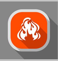 fire icon square button vector image