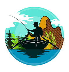 Fisherman in a boat and mountains vector