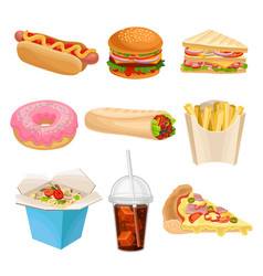 flat set of fast-food icons delicious vector image
