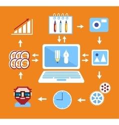 Freelance infographics flat vector image