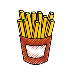 French fries fast food tasty fresh vector