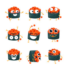 funny sushi with red caviar - isolated vector image