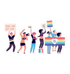 Gay parade isolated lgbt people gay pride happy vector