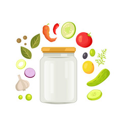 Glassware empty jar with vegetable and spice frame vector